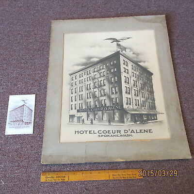 100 + year old Spokane Washington Hotel Couer D Alene  SIGN  Poster +  Post Card