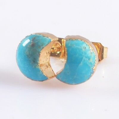 8x7mm Crescent Moon Natural Genuine Turquoise Stud Earrings Gold Plated B049742