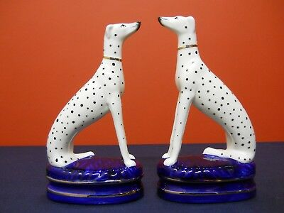 FF Fitz & Floyd Porcelain Dalmatian Dogs Staffordshire Style Figurines Bookends