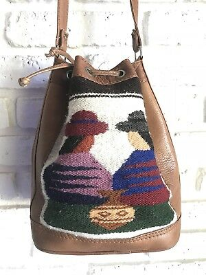 Vintage Mexican Small Drawstring Purse Leather With Mexican Women Tapestry