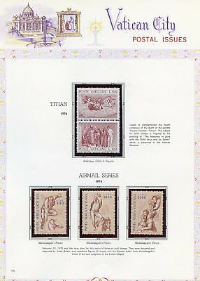 Vatican City Year 1976/78  Selection Stamps  Mounted On Album Pages Mint Nh