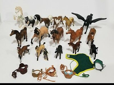 Schleich Safari Lot of 16 horses 1 trainer + accessories animals people figures