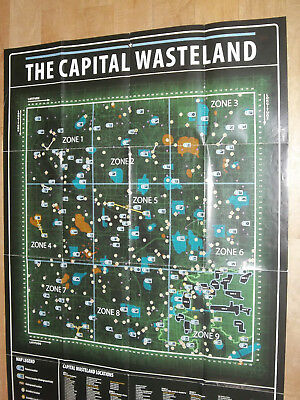 Large Fallout 3 Double Sided Map Capital Wasteland - Dc Metro Interior
