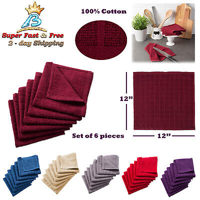 Set Of 6 Kitchen Dish Cloth Absorbent Cotton Cleaning Rag Auto Car Wash Towel