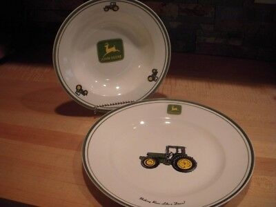 John Deere 11 1/4-inch Plate and a 9-inch Rimmed Soup Bowl by Gibson