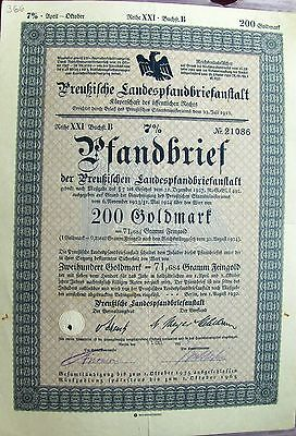 German 200 Gold Marks Pledge Letter, 8% Loan bond dated 3/1930-1/1931