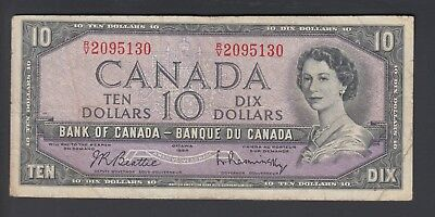 1954 $10 Dollars - Beattie Rasminsky - Prefix R/V - Bank of Canada - D857