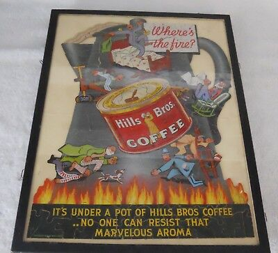 Hills Bros. Coffee Advertising Puzzle ( framed in covered tray) dated 1933