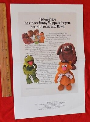 Vintage 1977 Fisher Price Muppets 10X15 Ad Proof Bleed Page Kermit Rowlf Fozzie