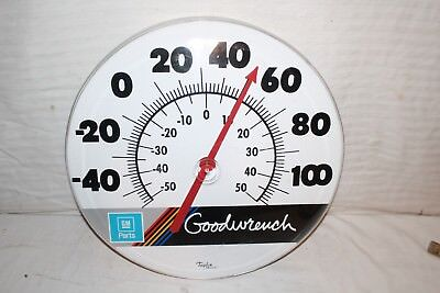 """Large Vintage 1970's GM Goodwrench Chevrolet Gas Oil 18"""" Metal Thermometer Sign"""