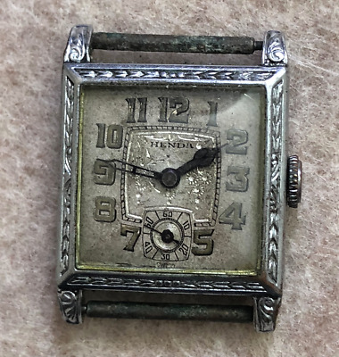 Vintage Henda Men's Watch Parts/Repair Art Deco Swiss Antique Case Display Back