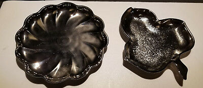 Vintage GLASS Oyster & Pearl OR Leaf Depression GLASS not METAL Candy Nut Dish