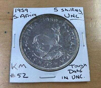 1959 5 Shilling Uncirculated South Africa TOUGH DATE KM#52