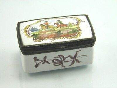 Antique late 19th century enamel pill box hand painted figures on horseback