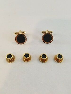 Gold Black Cuff links and 4 Shirt Studs Formal Set Tux Cufflinks