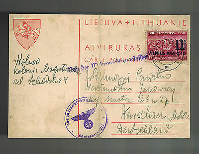 1939 Vilnius Lithuania cover to Warsaw Poland Censored in  Konisgberg