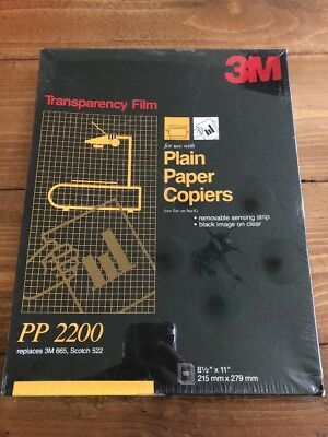 "NEW 3M Transparency Film For Copiers 100 Sheets 8.5"" x 11"" PP2200"