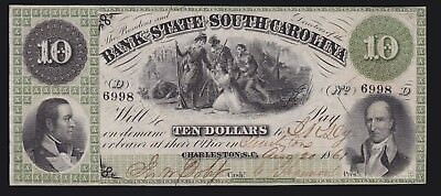 US 1861 $10 State of South Carolina at Charleston VF-XF w/ Punch Cancels (-998)