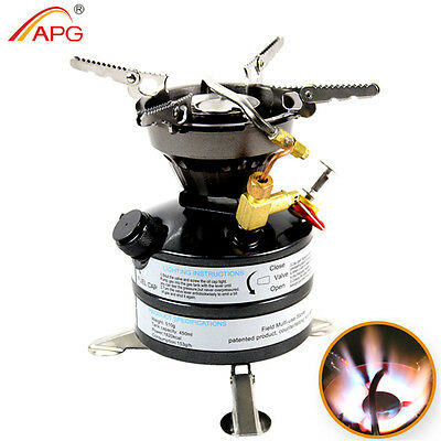 Camping Gasoline Stove Durable Outdoor Hiking Picnic Backpacking Oil Burner APG