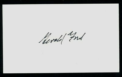 President Gerald Ford hand signed index card. Signed February 1987 with LOA
