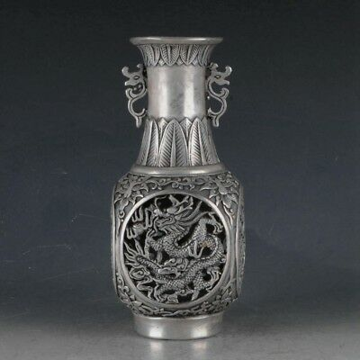 Chinese antique Tibetan silver vase hand-carved dragon and phoenix chengxiang.