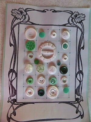 Antique-Vintage Buttons/Buckle Lot. 23pc. Old plastics,celluloid,buffed, florals