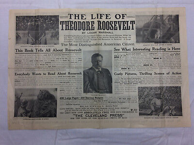 Vtg Newspaper Insert The Life of Theodore Roosevelt Advertising Cleveland Press