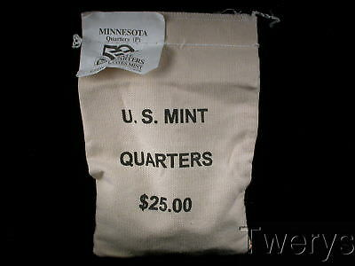 Us Mint Sewn Bag 2005-P Minnesota State Quarters 100 Coins $25 Face Value