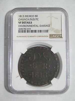 Mexico Oaxaca 1813 8 Reales Sud Type Ngc Vf-D Graded World Coin Collection Lot