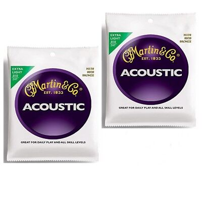 2 Sets Martin M170 80/20 Bronze  Extra Light Acoustic Guitar Strings 10 - 47