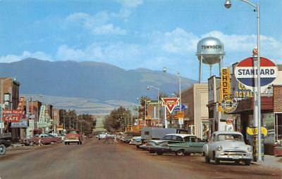TOWNSEND, MT Street Scene Montana Old Cars ca 1950s Vintage Postcard