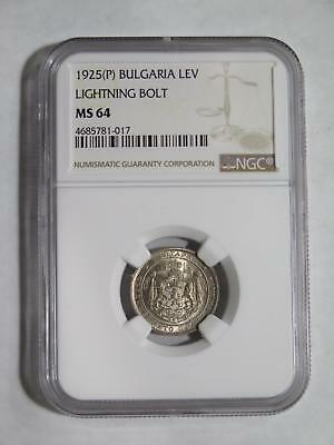Bulgaria 1925 1 Lev Ngc Ms64?? Under- Graded World Type Coin Collection Lot