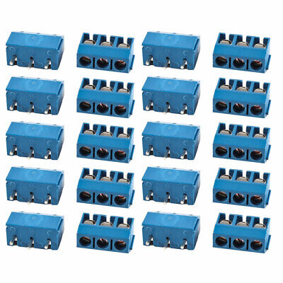 20 x Blue KF301-3P 3 Position 5mm Pitch Screw Terminal Block Connectors 300V 16A