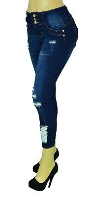 High waist  Stretch Push-Up Colombian Style Ankel Skinny Jeans Dk. Blue AF-192