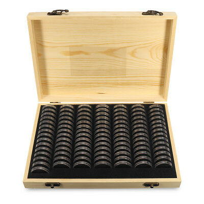 100pc Round Wood Coins Display Storage Box Collectible Case For Certified Coin