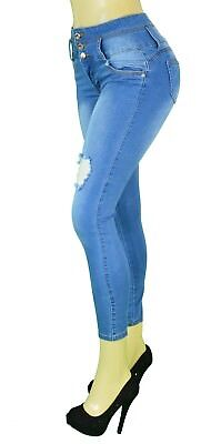 High Waist  Stretch  Colombian Style Levanta Pompis) Skinny Jeans M. BLUE VR-077