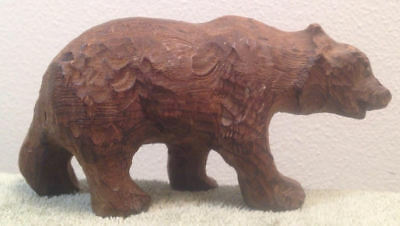 Hand Carved Wood Brown Bear Forest Growl Roar Animal Hunting Paws Tracks