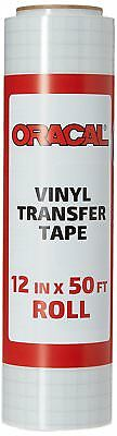 """Oracal 12"""" X 50 Feet Roll CLEAR Transfer Tape w/ Grid for Adhesive Vinyl   V..."""