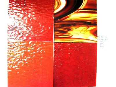 4 RED Stained Glass Hobby Sheets 100mm x 100mm x 3mm  Quality Craft Items. LOT B