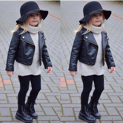 Autumn Winter Girl Boy Kids Baby Outwear Leather Coat Short Jacket Clothes
