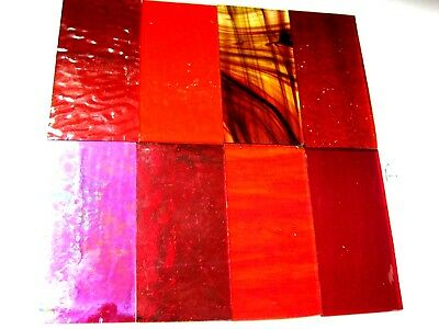 8 RED Stained Glass Hobby Sheets 100mm x 50mm x 3mm  Quality Craft Items LOT A