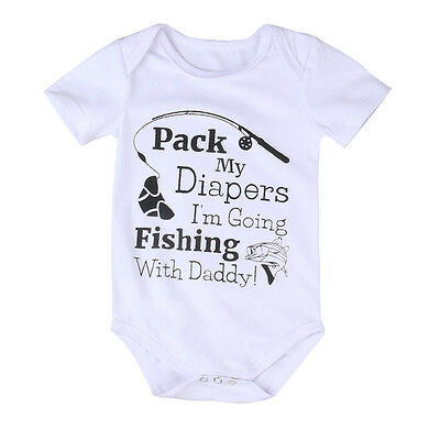 AU Stock Infant Baby Boys Girls Fishing Romper Jumpsuit Bodysuit Outfits Sunsuit