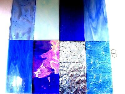 8 BLUE Stained Glass Hobby Sheets 100mm x 50mm x 3m  Quality Craft Items LOT B