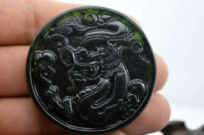 100% China's natural nephrite carving black green  jade pendant Dragon