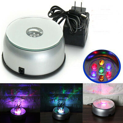 4'' Rotating 7 LED Light Stand Crystal Laser Turntable Display Base + AC Adapter