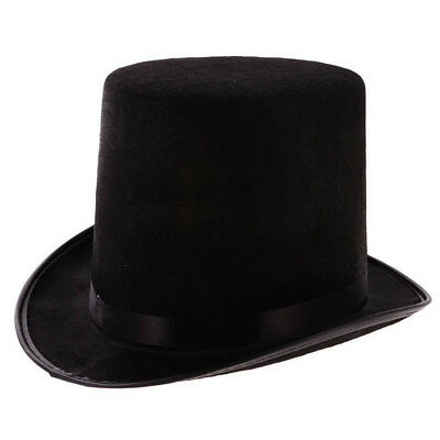 Tall Black Top Hat Victorian Steampunk Magician Ringmaster Costume