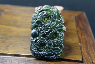 China natural manual carving black green  jade pendant Amulet Dragon