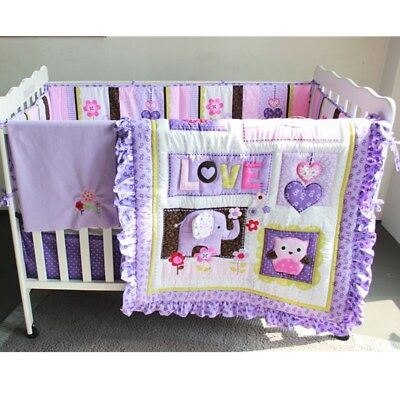 New Baby 8pcs Nursery Bedding Set Girls Purple Elephant Crib Cot Quilt Bumper