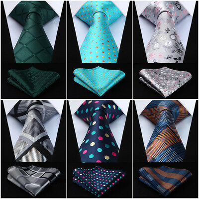 Hisdern Mens Ties Classic Woven Necktie Pocket Square Set Wedding Party#TG7