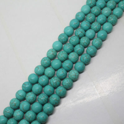New 8mm Blue Turquoise Gemstone Round Loose Beads 15""